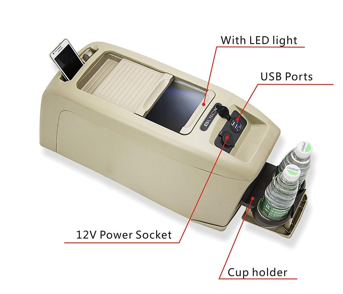 Special Design Auto Console Storage  Armrest Box with LED Light & USB-3